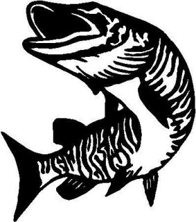 BLACK Vinyl Decal   Muskie fish fishing boat truck fun sticker sea