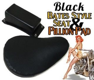 Harley Sportster XL Black Vinyl Solo Seat Kit Pillion Pad & 3