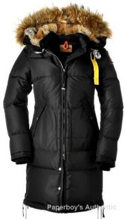 PARAJUMPERS LONG BEAR PARKA DOWN JACKET BLACK AUTHENTIC WOMENS SIZES