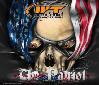YAMAHA RAPTOR 660 660R GRAPHICS THE PATRIOT SKULLS BLUE KIT