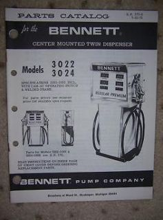 1971 Bennett Gas Pump Parts List 3022 Twin Dispenser z