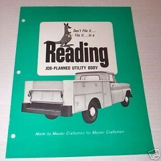 1968 Reading Job Planned Utility Truck Body Brochure