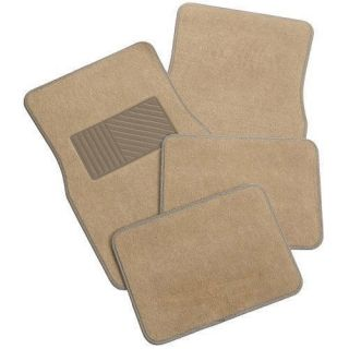 TAN CARPETED DESIGN MAT 4 PC SET FRONT & REAR CAR FLOOR MATS MEDIUM