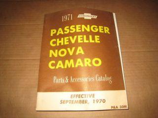 1971 Chevrolet Camaro Chevelle Nova parts catalog book shop manual