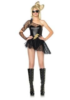 Sexy Lady Gaga Costume Black One Shoulrder Mini Dress Clubwear