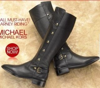 Michael Kors Carney Black Leather Riding Equestrian Boots size 5.5