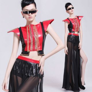 PUNK Lady Gaga Style Long Skrit+Short Jacket Costume Dance Tassel Free