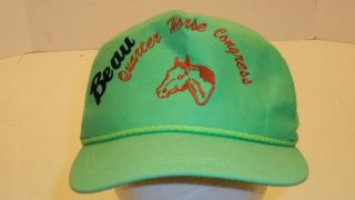 VINTAGE BEAU QUARTER HORSE CONGRESS HAT SNAPBACK BRIGHT GREEN STITCHED