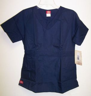 NWT Dickies Medical Uniforms NAVY BLUE Brushed Fabric Scrub Top XS XL