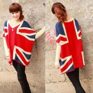 Women Oversized Loose Union Jack UK Flag Design Sweater Jumper Coat
