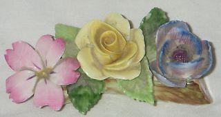 VINTAGE ROYAL ADDERLEY FLORAL BONE CHINA FLOWERS ON PORCELAIN LOG