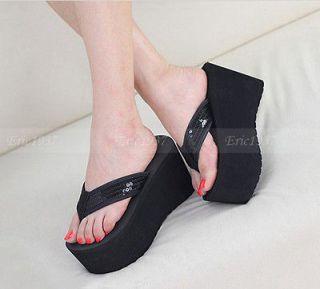 High Wedge Heel Womens flip flops Platform Pumps Shoes Sandals black