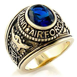 Gold Plated United States Air Force Sapphire CZ Military Ring R207