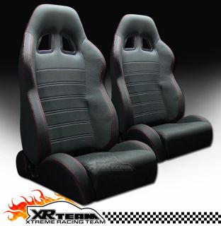 Red Stitch Racing Bucket Seats+Sliders Pair Chevy (Fits Chevrolet