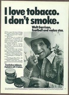 Smokeless Tobacco 1974 magazine print ad, Walt Garrison, Skoal