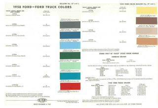 1958 Ford Car Truck Paint Color Chart 58 Ford Fairlane Galaxie F 100