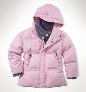 New Polo Ralph Lauren Girls Down Puffer Jacket Pink 24 m 2 2T Crest