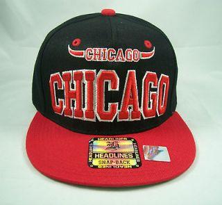 Chicago Bulls Snapback Hat Baseball cap Black, Red, White