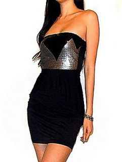 SEXY BLACK SILVER SEQUIN SLEEVELESS COCKTAIL DRESS S