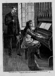 YOUNG GIRL PLAYING CHURCH ORGAN ANTIQUE ENGRAVING HYMN