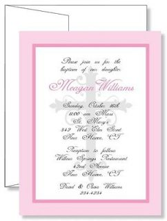 Personalized Swirly Cross Baptism Christening Invitations   Any Color