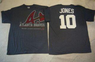 100% Licensed MAJESTIC Braves CHIPPER JONES Baseball Jersey Shirt NAVY