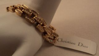 Retired Christian Dior Gold Plated Swarovski Crystal Bar Bracelet NEW