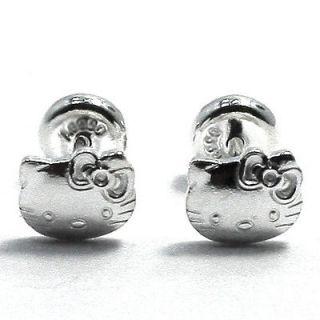 Funny Hello Kitty Genuine Sterling Silver 925 Earrings Girl Baby
