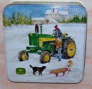 John Deere Tractor Christmas Winter Scene Cake Tin Farmhouse Dogs Sled