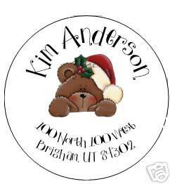 Christmas Round Return Address Labels or Stickers Gift