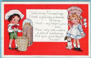 S8555 Whitney Valentines Day postcard , Stock market ticker, Boy