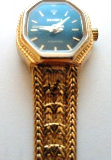 Diamond Womans Dress Watch Gold Plate Band Water Resistant SST Case