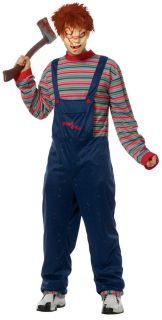 ADULT SEED OF CHUCKY DOLL HORROR SCARY JUMPSUIT COSTUME & MASK FR49382