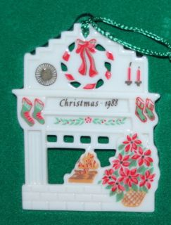 MIB RET. LENOX CHRISTMAS TREE FIREPLACE WREATH STOCKING 1988 ORNAMENT
