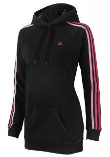 Adidas Womens Black ClimaLite Overhead Long Hoody Hooded Jumper Top