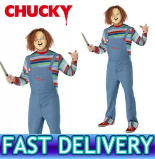 CHUCKY CHILDS PLAY MENS Halloween Horror Fancy Dress Costume + Mask M