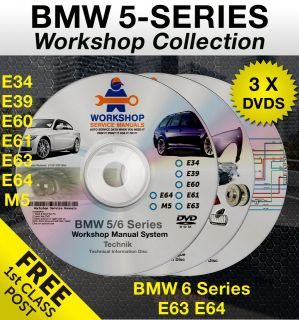 BMW 5 Series 3 DVD Workshop Service Manual Parts Wiring E34 E39 E60
