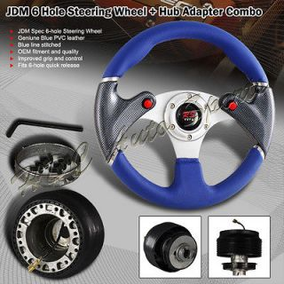 02 06 ACURA RSX BLUE/BLACK JDM STEERING WHEEL+ADAPTER (Fits Civic Si)