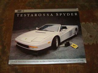 Vintage Testors Pocher Ferrari Testarossa Spyder 1/8 Scale Metal Kit