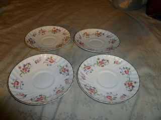 Vintage Royal Adderley Fine Bone China Bouquet Pattern Set of 4