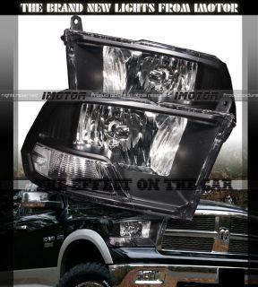 09 12 Dodge Ram 1500/2500/3500 BLK Crystal Diamond Headlights Lamps