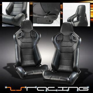SLIDERS SPORT LEATHER RACING BUCKET SEATS PAIR (Fits Pontiac GTO