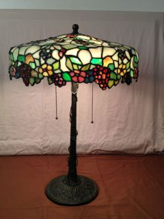 Morgan Grape leaded table lamp stained glass Antique light
