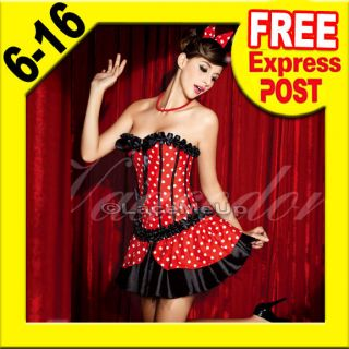 Mickey Minnie Mouse Animal Costume Fancy Polka Dot Boned Corset Skirt