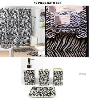 Bath Accessory Set black zebra printed bathroom rugs shower curtain
