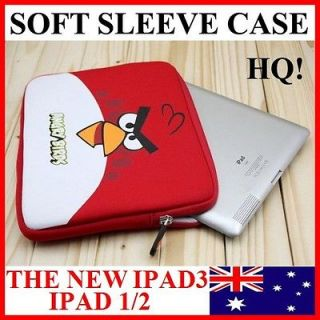 Red ANGRY BIRDS Soft Sleeve Case Pouch Cover 4 iPad 1/2(HQCute Bag)