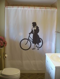 Shower Curtain antique girl bike wheel old fashioned