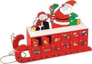31cm Wooden Sleigh Advent Calendar (Fill With Your Own Treats For Xmas