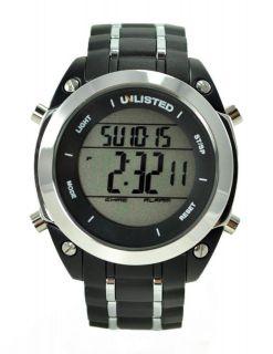 Kenneth Cole BIG Digital Chrono Alarm Watch Black Silver UL1206