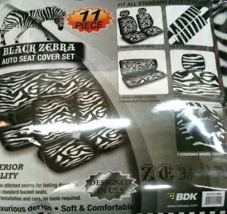 Zebra 11 pcs. Car Seat Covers Accessories Set   B/W